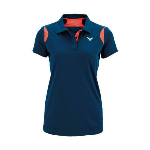 Victor Function 6928 Womens Badminton Polo Shirt (Coral-Navy blue)