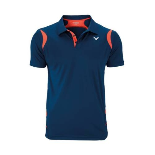 Victor Function 6938 Mens Badminton Polo Shirt (Coral-Navy blue)